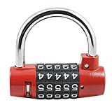 LOHOME Combination lock - 5 Digits Multi-Function Anti-Theft Lock [Pure Metal Body + Hardened Steel Hook + Enviropaints] Travel Padlock for Gate / Bikes / Toolbox / Sports Bag / Suitcase
