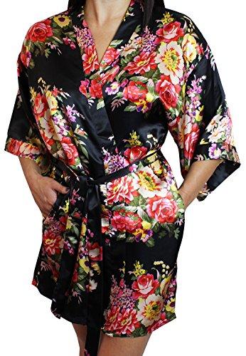 Women's Satin Floral Kimono Short Bridesmaid Robe W/Pockets - Black M/L