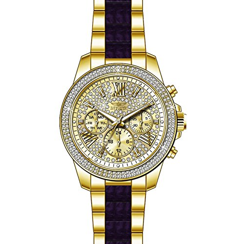 Invicta Women's Angel Gold-Tone Dial Steel Bracelet & Case Swiss Quartz Analog Watch 20508