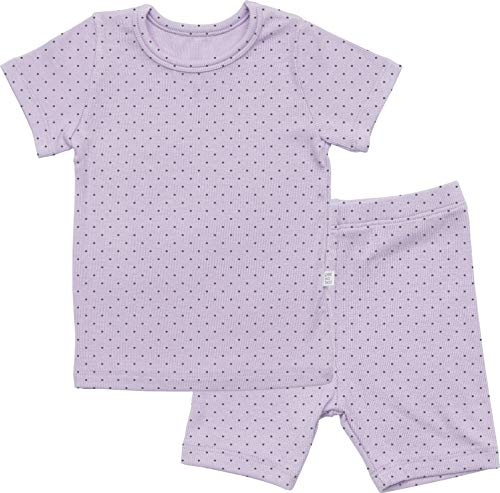 AVAUMA Newborn Baby Little Boys Snug-Fit Polka Dot Pajamas Summer Short Sets Pjs Kids Clothes (S/Light Purple)