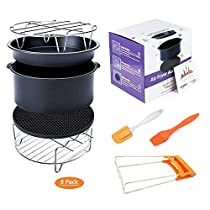 Deep Fryers Universal Air Fryer Accessories Including Cake Barrel,Baking Dish Pan,Grill,Pot Pad, Pot Rack with Silicone Mat by Bellagione (8 Pcs) (regular)