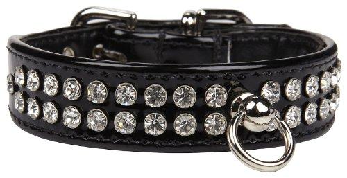 Fab Dog Crystal Collar - Black & Clear Stones - X-Small