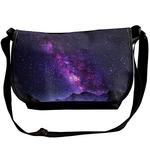 Unisex Wide Diagonal Shoulder Bag Milky Way Galaxy Printed Casual Messenger Single Shoulder Bag Adjustable Shoulder Tote Bag