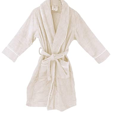OrganicTextiles Royal Spa Terry Cloth Bathrobe 100% Organic Cotton [GOTS Certified], 5-Star Hotel Spa Quality, Luxurious Robe Design, Rich Softness, Highly Absorbent - Women's (L/XL) Natural White