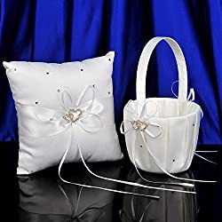 Remedios 2 Heart Rhinestones Ivory Satin Flower Girl Basket and Ring Pillow Set, Ivory