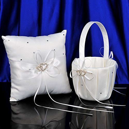 Wedding Heart Basket - Remedios 2 Heart Rhinestones Ivory Satin Flower Girl Basket and Ring Pillow Set