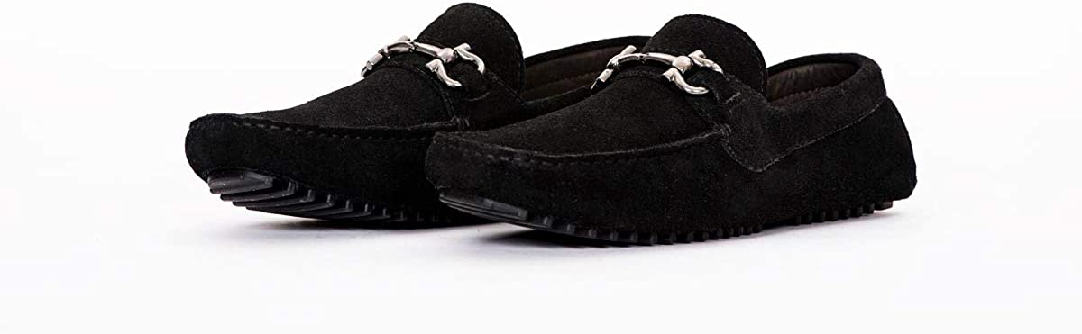 Mens Pair of Kings TOP Kicker Black Suede Leather Moccasins Dress Shoes