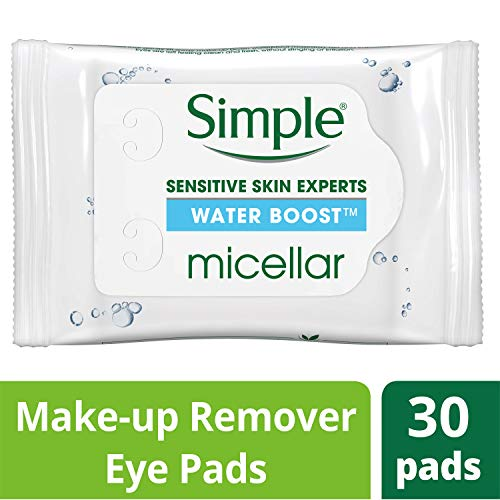 Simple Water Boost Micellar Make-Up Remover, Eye Pads, 30 Count (Pack of 6)