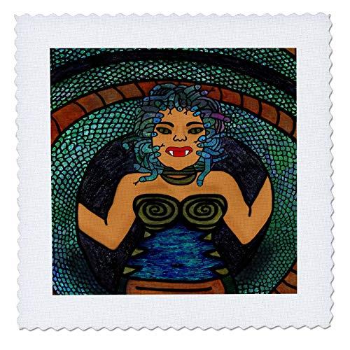(3dRose BlakCircleGirl - Halloween - Medusa - The Mythological Medusa with a Snake Body and snakey Hair - 8x8 inch Quilt Square)