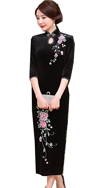 0e5ed375e3d83 Shanghai Story Peacock Floral Embroidery Velvet Long Cheongsam Qipao Dress
