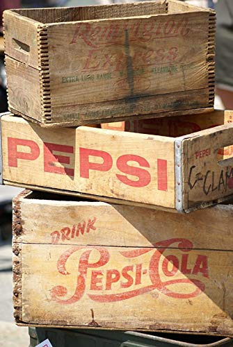 (Home Comforts Canvas Print Pop Marketing Pepsi Soda Wood Crates Vintage Vivid Imagery Stretched Canvas 32 x 24)