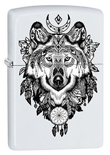 Zippo Lighter: Aztec Wolf - White Matte -