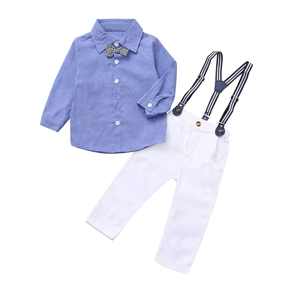 Bebés de Ropa Encantadora, YpingLonk Conjunto de Tres Piezas para Niño El Botón Camisas y Pantalones Sudadera de Recién Nacidos Aprendiendo a Caminar (3 ...