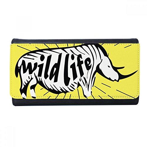 Black Rhinoceros Animals (Black Animal Rhinoceros Silhouette Natural Wallet Rectangle Card Multi-Function Purse Gifts)