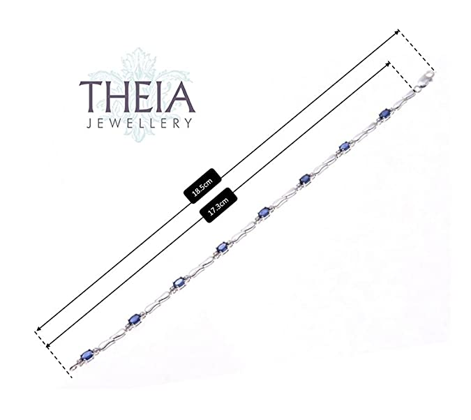 Theia Sterling Silver Oval 1.8 ct Emerald Gem Stone with Diamonds 18.5 Double Drop Link Bracelet GCdhwY