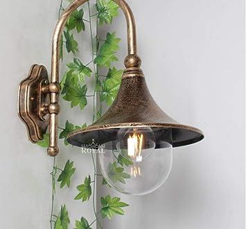 Apliques De Exterior Vintage Altavoz E27 Lámpara Lámpara De Pared De Jardín Impermeable Iluminación Exterior: Amazon.es: Bricolaje y herramientas