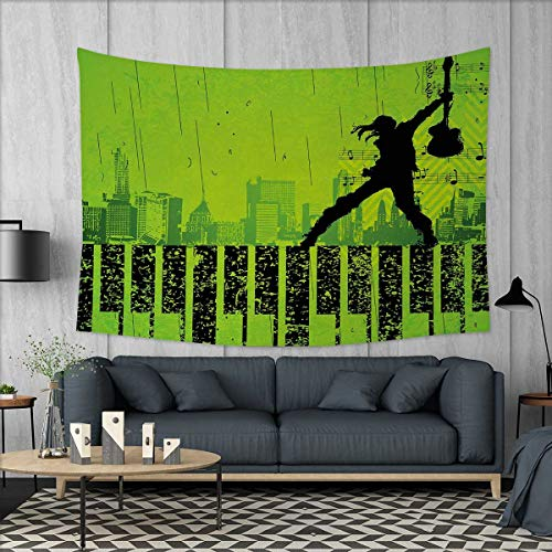 Anniutwo Popstar Party Wall Hanging Tapestry Music in The City Theme Singer with Electric Guitar on Grunge Backdrop Customed Widened Tapestry W90 x L60 (inch) Lime Green Black