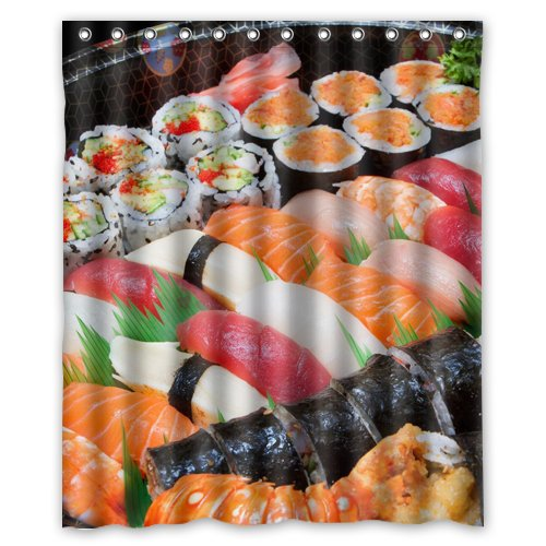 Sushi food plate Wallpaper Shower Curtain 60 x 72 Inch Bathroom
