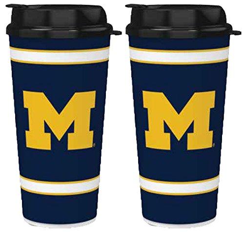 NCAA Michigan Wolverines 32oz Single Wall Travel Mug 2 Pack (Wolverines Single Michigan)