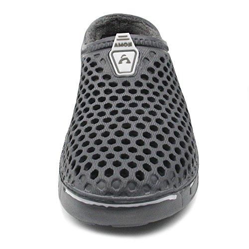 Amoji Hiver Pantoufles Maison Chaussures Intérieur Maison Sabots Gris