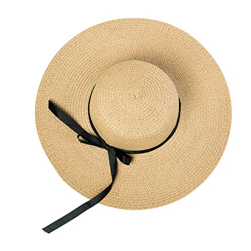 Wxinmei Women's Floppy Straw Hat Summer Sun Hat Foldable Big Brim Bowknot Beach Hat