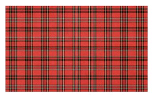 Lunarable Retro Doormat, Classical Plaid Pattern Scottish Striped Tartan Traditional Graphic Illustration, Decorative Polyester Floor Mat with Non-Skid Backing, 30 W X 18 L Inches, Vermilion Black
