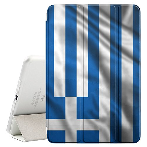 FJCases Greece Greek Waving Flag Smart Cover Stand + Back Case with Auto Sleep/Wake Function for Apple iPad Pro (9.7