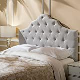 Marina Fabric Queen/Full Tufted Headboard (Light Grey)