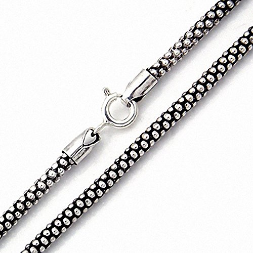 (Oxidized 2.8MM 925 Sterling Silver Popcorn Chain Necklace 22)