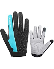 anqier Cycling Gloves Fingerless or full finger, Men Women Gym Work Biking MTB Hunting Climbing Workout Fitness CrossFit Weight Lifting Gloves, Full Palm Protection & Good Grip for Builders Mechanic