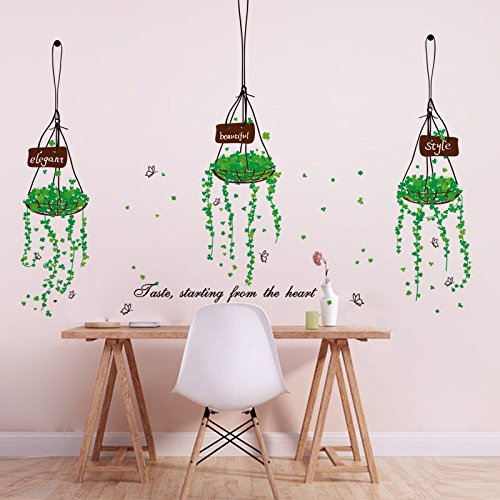 ORDERIN Christmas Gift Wall Stickers A Green Hanging Basket Removable Mural Wall Decal for Kids Bedroom and Living Room Wall and Home Decor