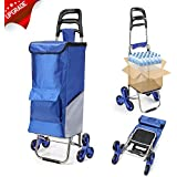 Upgraded Folding Shopping Cart, Stair Climbing Cart Waterproof Grocery Laundry Utility Cart with Wheel Bearings Stainless Steel Frame, Blue