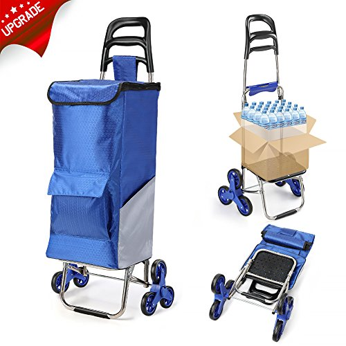 ROYI Upgraded Folding Shopping Cart, Stair Climbing Cart Waterproof Grocery Laundry Utility Cart with Wheel Bearings Stainless Steel Frame, Blue price tips cheap