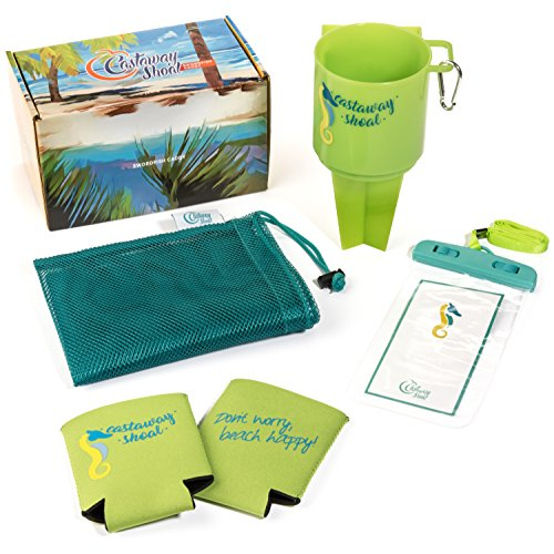Outdoor Beach Cup Holder Caddy Coaster Set by Castaway Shoal-- Perfect for Camping, Beach, Lawn, or Garden Party. Includes: Mesh Carry Bag, 2 Can Cooler Sleeves, Carabiner Hook, Cellphone Case.