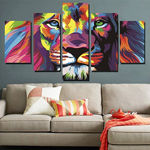 5 Piece Original Animal Oil painting pictures Art print on the canvas, wall decor, Home wall art picture,color, Lion king (Unframed) Unframed FCa15 50 inch x30 inch