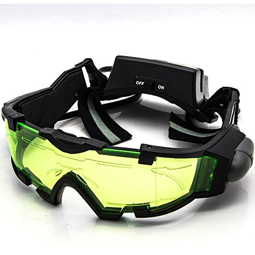 Goggle Bands (Allytech Green Lens Adjustable Elastic Band Night Vision Goggles Glasses Eyeshield M2 Great Toy for Kids)