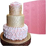 "Anyana huge 16"" texture Lace Silicone impression Mat fondant imprint lace mat Cake candy Decorating Supplies Color Pink Pastry gumpaste Sugar Paste Baking Mould edible floral lace wedding"