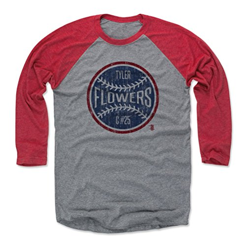 - 500 LEVEL Tyler Flowers Baseball Tee Shirt X-Small Red/Heather Gray - Atlanta Baseball Raglan Shirt - Tyler Flowers Atlanta Ball B