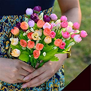 Elibone Autumn 15 Heads/Bouquet Small Bud Roses Bract Artificial Flower Silk Rose DIY Wedding Home Christmas Decor Flowers Rose Gift 47