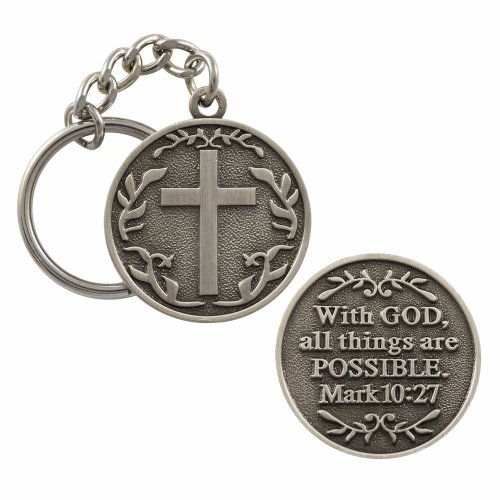 Sterling Silver Cross Keychain (With God All Things Are Possible Keychain Key Holder Key)