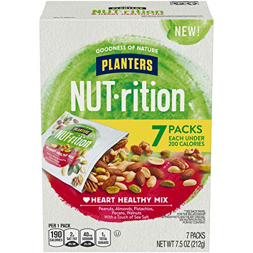 NUTrition Heart Healthy Mixed Nuts (7.5 oz Bags, Pack of 7)