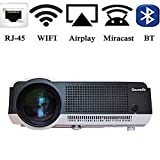 Gzunelic 4500 lumens Android Wifi 1080p Video Projector LCD LED Full HD Theater Proyector with Bluetooth Wireless Synchronize to Smart Phone by Airplay or Miracast Ideal for Home Entertainment