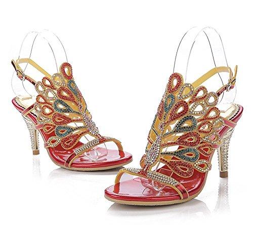 artigianali Festa Rhinestone Dress metà Peacock scarpe GAIHU tacco Womens Prom Red Dimensione Serale Bridemaid modellato 35 sandali 43 8BCPwgq