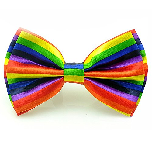 Silk Finish Fashion Bow Tie. Pre-tied Elastic Dicky for Weddings (Rainbow Horizontal)]()