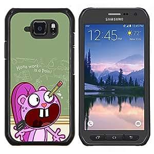 Cubierta protectora del caso de Shell Plástico || Samsung Galaxy S6 Active G890A || Cartoon School Ugly Tarea Lápiz @XPTECH