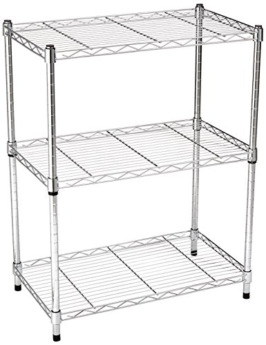 AmazonBasics 3-Shelf Shelving Unit - Chrome - 3 Tier Metal Shelf