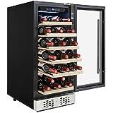 AKDY 30 Bottles Single Zone Adjustable Touch Control Freestanding Compressor Wine Cooler Cellar