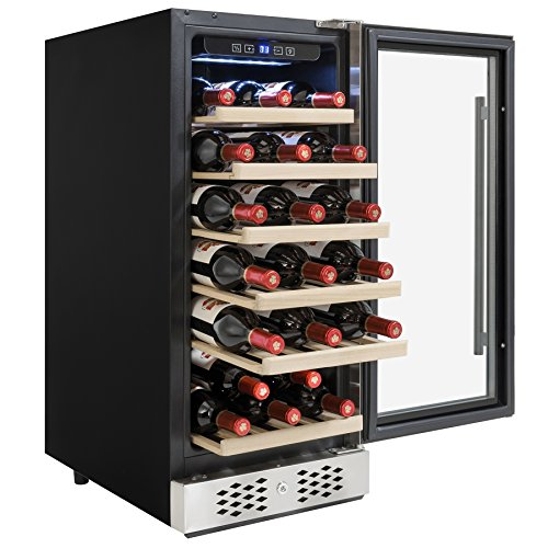 AKDY 30 Bottles Single Zone Adjustable Touch Control Freestanding Compressor Wine Cooler Cellar by AKDY