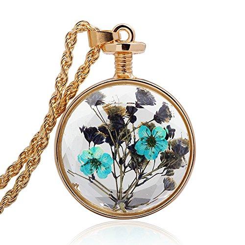 Winter's Secret Circle Shape Blue Floral Dried Flower Glass Pendant Gold Color Twist Chain Necklace