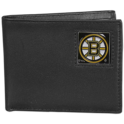 Wallet Boston Bruins Leather - NHL Boston Bruins Leather Bi-Fold Wallet Packaged in Gift Box, Black